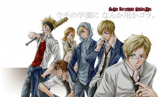 Tags: Anime, Axis Powers: Hetalia, United Kingdom, Norway, Hungary, Sweden, Denmark, Spain, Yankee, Artist Request, Gakuen Hetalia