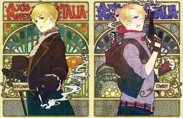 Tags: Anime, Mushi Kei, Axis Powers: Hetalia, United Kingdom, United States, Art Nouveau, Cowboy Hat, Cowboy, Revolver, Western, Pixiv, Fanart, Allied Forces