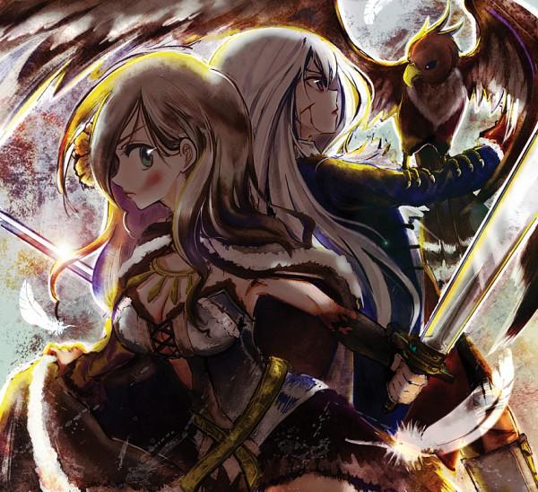 Tags: Anime, Pixiv Id 2408189, Axis Powers: Hetalia, Prussia (Female), Hungary, Eagle, Falcon, Fanart, Nyotalia