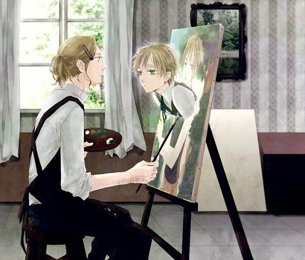 Tags: Anime, Aohara, Axis Powers: Hetalia, United Kingdom, France, Painting (Object), Canvas, Surreal, Painting (Action), Easel, Fanart, Pixiv, FrUK