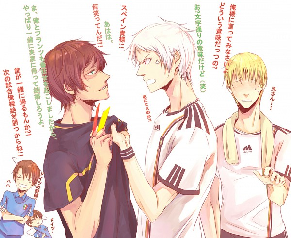 Tags: Anime, Pixiv Id 519308, Axis Powers: Hetalia, South Italy, Spain, Germany, North Italy, Prussia, Yellow Card, White Flag, Red Card, Fanart, Translation Request