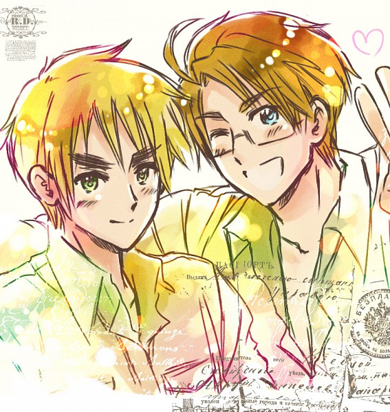 Tags: Anime, Rosel D, Axis Powers: Hetalia, United Kingdom, United States, Russian Text, Fanart, deviantART, Allied Forces