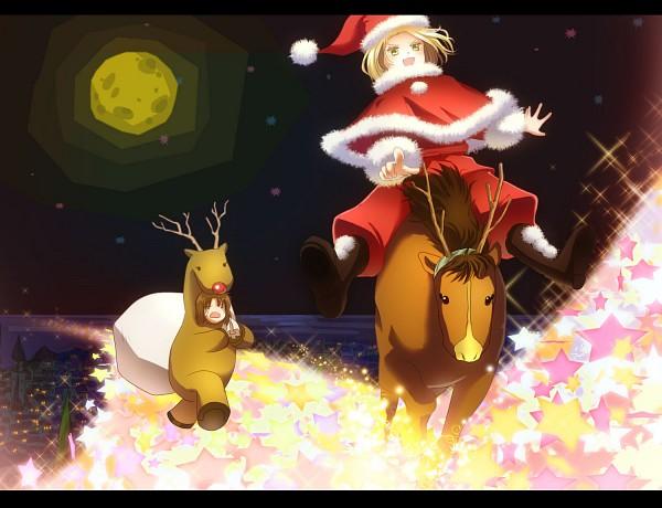 Tags: Anime, Axis Powers: Hetalia, Lithuania, Poland, Reindeer, Reindeer Costume, Fanart, Pixiv, Soviet Union