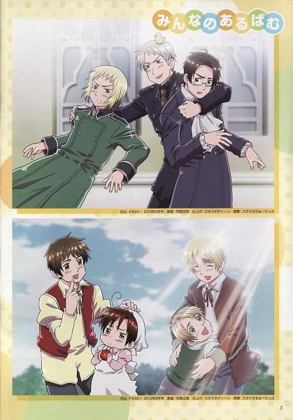 Tags: Anime, Kannan Masaaki, Studio DEEN, Axis Powers: Hetalia, Chibimano, Prussia, Spain, Switzerland, Austria, United Kingdom, Gilbird, United States, Confused
