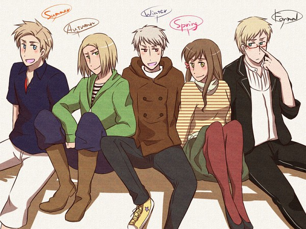 Tags: Anime, Pixiv Id 356824, Axis Powers: Hetalia, Denmark, Prussia, Poland, Hungary, Sweden, Spring, Fanart, Pixiv, Nordic Countries