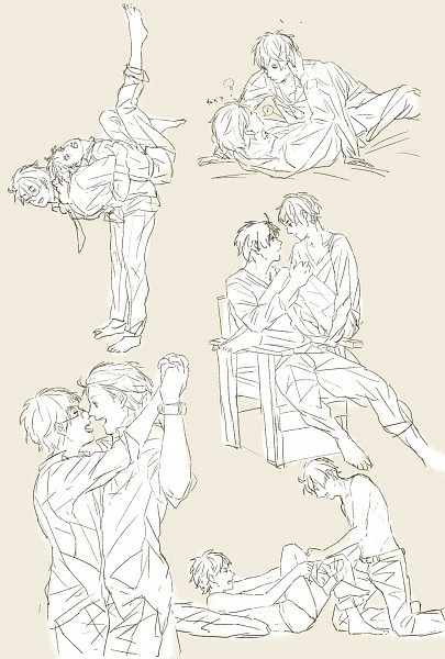 Tags: Anime, Axis Powers: Hetalia, United Kingdom, United States, Pants Down, Sketch, Allied Forces