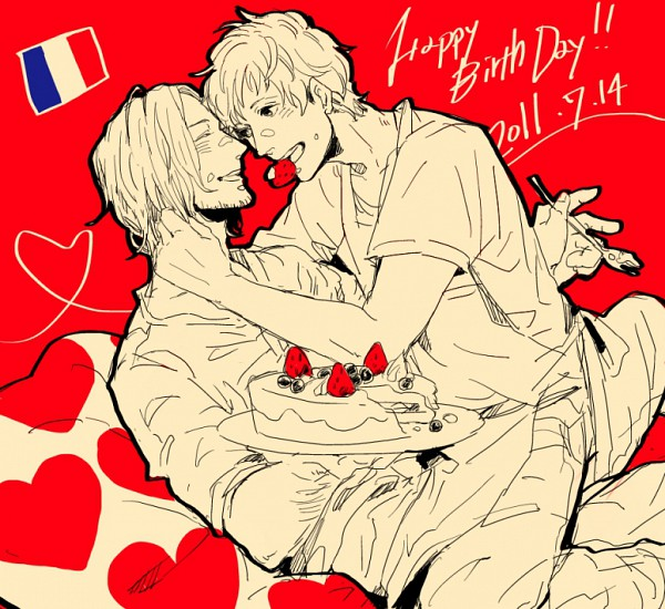 Tags: Anime, Pixiv Id 369676, Axis Powers: Hetalia, Spain, France, Fanart, Pixiv, Allied Forces, Mediterranean Countries