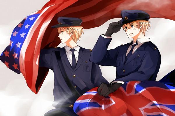 Tags: Anime, Megoppe, Axis Powers: Hetalia, United Kingdom, United States, Police Hat, Fanart, Pixiv, Allied Forces