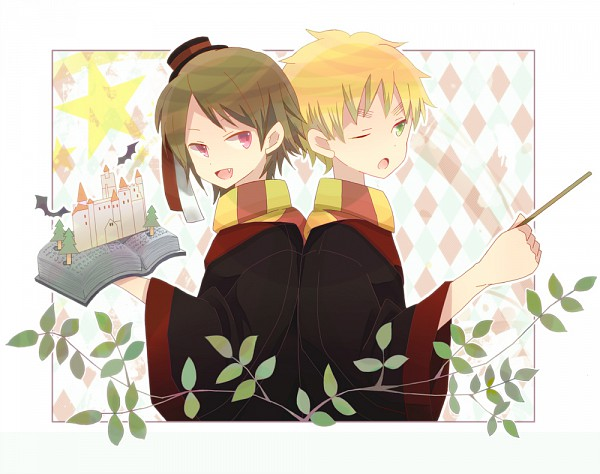 Tags: Anime, Pixiv Id 2365321, Axis Powers: Hetalia, United Kingdom, Romania, Harry Potter (Parody), Harry Potter (Cosplay), Pop-up Book, Pixiv, Fanart, Gryffindor House, Allied Forces