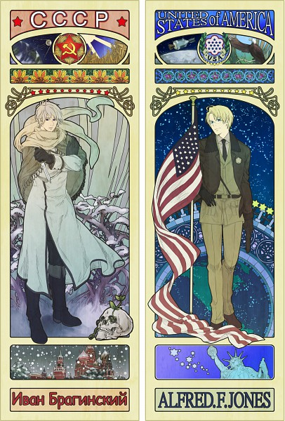 Tags: Anime, Mushi Kei, Axis Powers: Hetalia, Moscow, United States, Russia, Hammer And Sickle, Tarot Cards, Wheat, Moscow Kremlin, Russian Text, Art Nouveau, Mobile Wallpaper