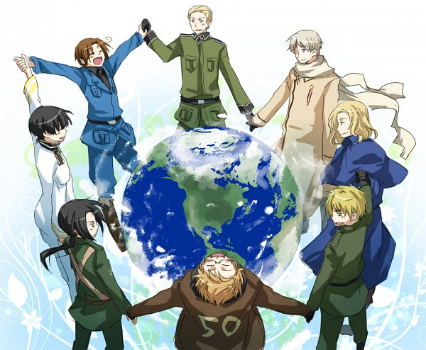 Tags: Anime, Pixiv Id 148321, Axis Powers: Hetalia, North Italy, Russia, United Kingdom, China, United States, France, Germany, Japan, Marukaite Chikyuu, Asian Countries
