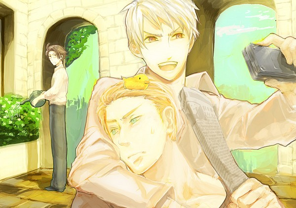 Tags: Anime, Pixiv Id 54654, Axis Powers: Hetalia, Gilbird, Austria, Germany, Prussia, Bird on Head, Archway, Watering Can, Newspaper, Germanic Countries, Axis Power Countries