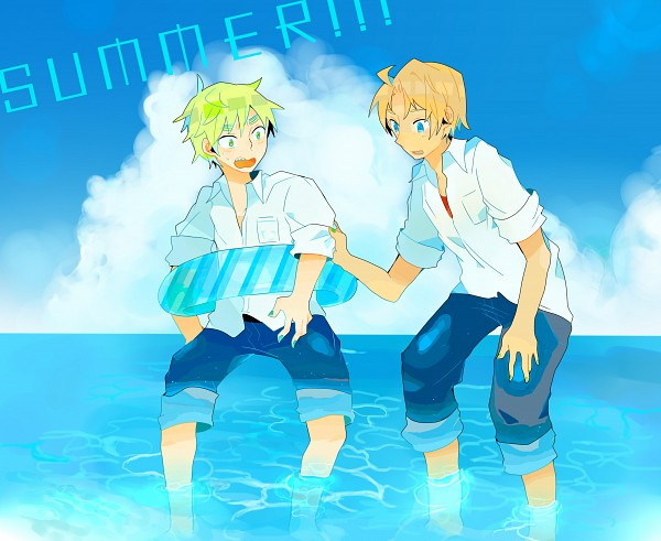 Tags: Anime, Axis Powers: Hetalia, United States, United Kingdom, Summer Style, Fanart, Pixiv, Allied Forces