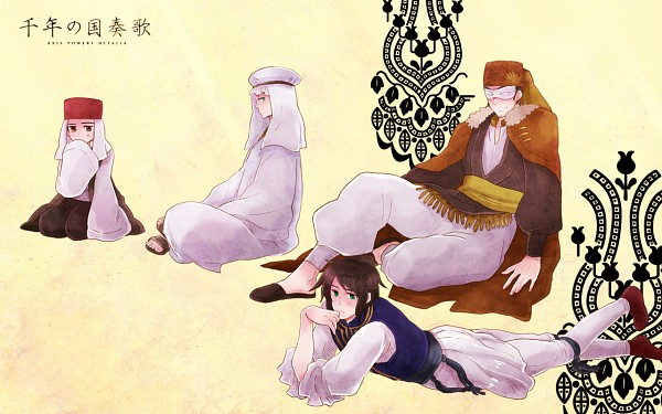 Tags: Anime, Momo (Pixiv1603885), Axis Powers: Hetalia, Egypt, Ottoman Empire, Greece, Turkey, Republic of Northern Cyprus, Wallpaper, Fanart, Pixiv, Mediterranean Countries
