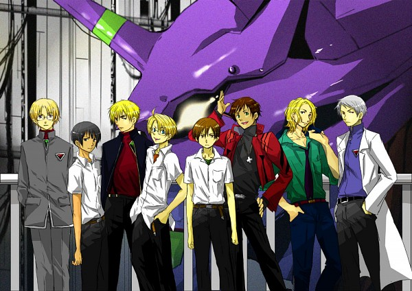 Tags: Anime, Axis Powers: Hetalia, United Kingdom, United States, South Italy, Prussia, Canada, France, Spain, Japan, Neon Genesis Evangelion (Parody), Asian Countries, Mediterranean Countries
