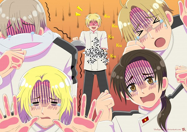Tags: Anime, Khakipants12, Axis Powers: Hetalia, China, France, United Kingdom, United States, Russia, Scone, Inedible Food, Trembling, deviantART, Allied Forces
