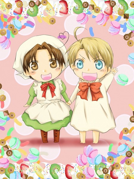 Tags: Anime, Axis Powers: Hetalia, Chibitalia, United States, North Italy, Allied Forces, Mediterranean Countries, Axis Power Countries