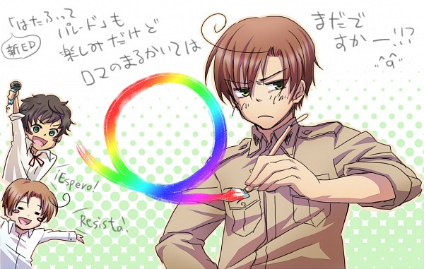 Tags: Anime, Nanoka, Axis Powers: Hetalia, South Italy, Spain, North Italy, Painting (Action), Mediterranean Countries, Axis Power Countries