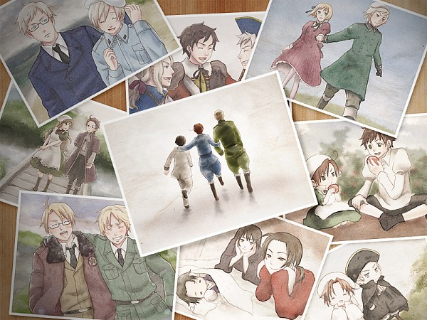 Tags: Anime, Pixiv Id 514285, Axis Powers: Hetalia, Japan, United States, Holy Roman Empire, Hungary, Sweden, Germany, South Italy, France, Spain, North Italy