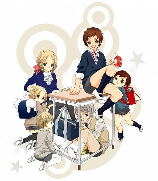 Tags: Anime, Odquki, Axis Powers: Hetalia, Spain, South Italy, Germany, Prussia, Mochimerica, France, Kumajirou, Canada, Gilbird, Milk