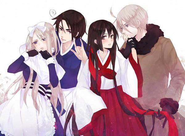 Tags: Anime, Hachiro, Axis Powers: Hetalia, Belarus (Male), Belarus, South Korea (Female), South Korea, Hanbok, Korean Clothes, Nyotalia, Pixiv, Fanart