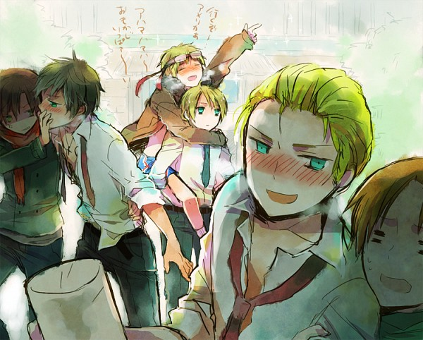 Tags: Anime, Bubblehour, Axis Powers: Hetalia, United States, South Italy, Germany, North Italy, Spain, United Kingdom, Flag Print, Fanart, Pixiv, Allied Forces