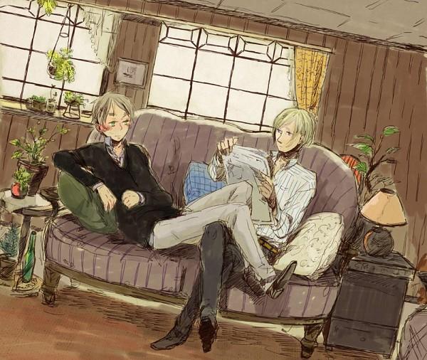 Tags: Anime, Azumi Nonko, Axis Powers: Hetalia, United Kingdom, France, Newspaper, Fanart, Pixiv, FrUK, Allied Forces