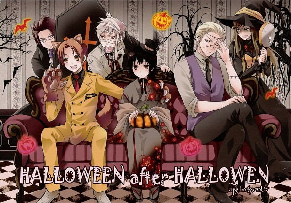 Tags: Anime, Axis Powers: Hetalia, Austria, Japan, Germany, North Italy, Prussia, Hungary, Frankenstein's Monster (Cosplay), Vampire Costume, Cooking Pan, Germanic Countries, Mediterranean Countries