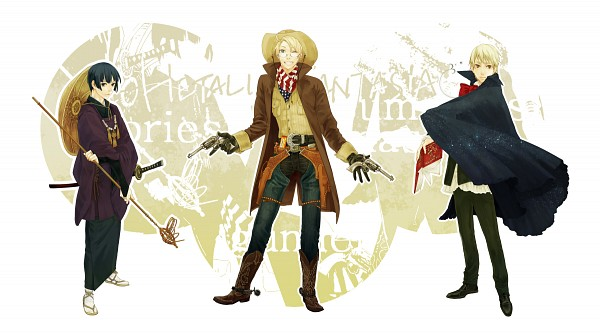 Tags: Anime, pholcus, Axis Powers: Hetalia, Japan, United Kingdom, United States, Cowboy Boots, Cowboy, Revolver, Western, Pixiv, Facebook Cover, Fanart
