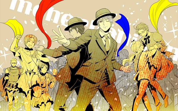 Tags: Anime, CoQ10, Axis Powers: Hetalia, North Italy, India, Prussia, Hungary, Austria, Japan, Germany, Party, Wallpaper, Pixiv