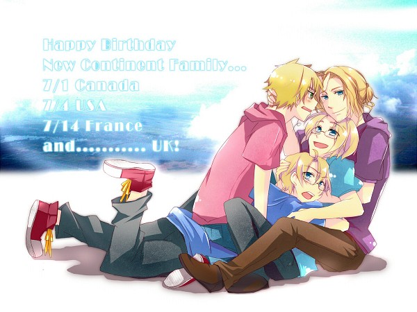 Tags: Anime, Haru Aki, Axis Powers: Hetalia, France, Canada, United Kingdom, United States, Birthdate Connection, Group Hug, Pixiv, Wallpaper, Fanart, Allied Forces