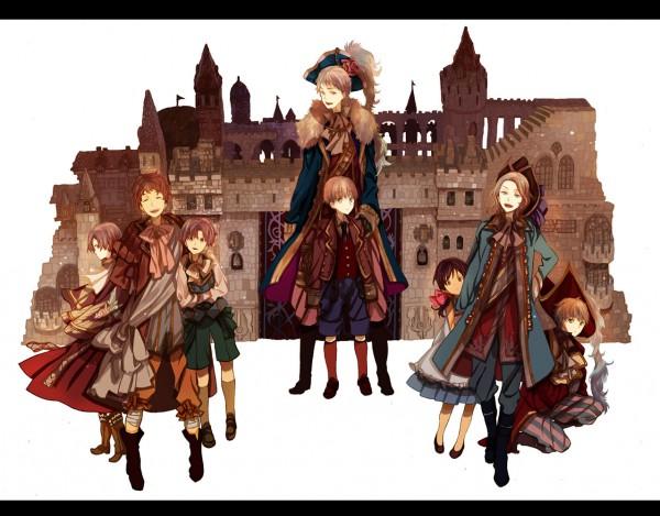 Tags: Anime, Okazaki Oka, Axis Powers: Hetalia, United Kingdom, Seychelles, Germany, South Italy, North Italy, Prussia, Spain, France, Pixiv