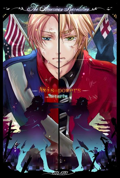 Tags: Anime, Sakkuri, Axis Powers: Hetalia, United Kingdom, United States, Fanart, Pixiv, Mobile Wallpaper, American Revolutionary War, Allied Forces