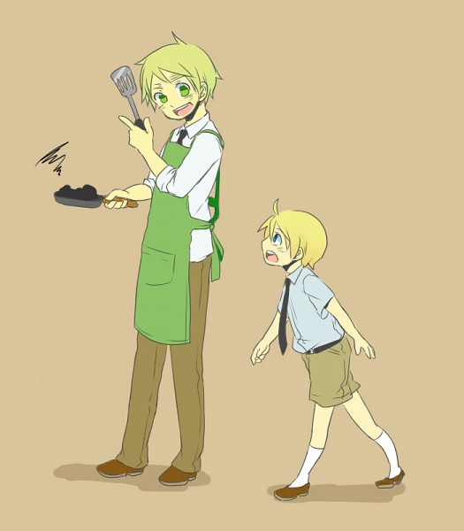 Tags: Anime, Kirisaki (Artist), Axis Powers: Hetalia, United Kingdom, United States, Spatula, Cooking Pan, Pixiv, Fanart, Allied Forces