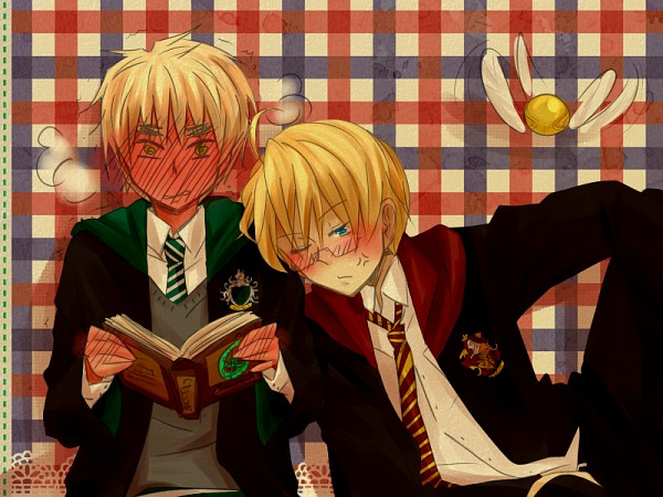 Tags: Anime, Iggiesca Asdy, Axis Powers: Hetalia, Harry Potter, United Kingdom, United States, Harry Potter (Cosplay), Quidditch, Harry Potter (Parody), Plaid Background, Snitch, Fanart, Gryffindor House