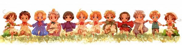 Tags: Anime, Pixiv Id 3646438, Axis Powers: Hetalia, Canada, Chibimano, North Italy, Japan, Spain, Russia, Gilbird, United Kingdom, Prussia, South Italy