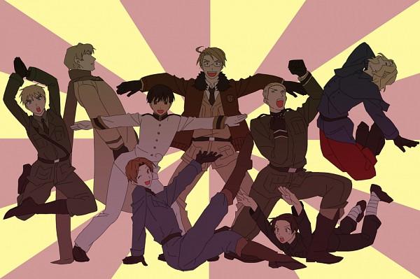 Tags: Anime, Pixiv Id 1342329, Axis Powers: Hetalia, France, Germany, Japan, North Italy, Russia, United Kingdom, China, United States, Sentai Pose, Rising Sun Motif
