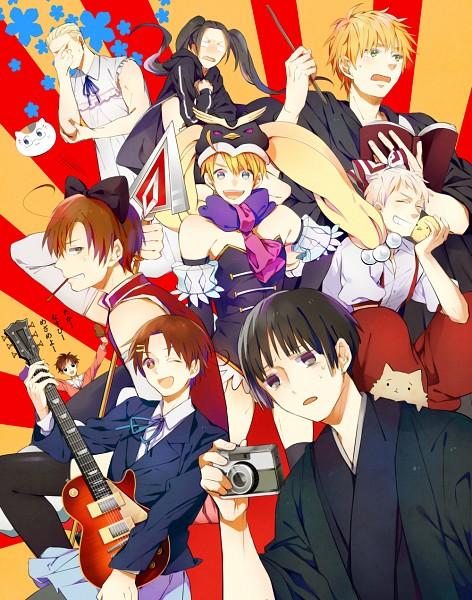 Tags: Anime, Zat (Pixiv84455), Axis Powers: Hetalia, North Italy, Spain, Prussia, United Kingdom, China, Gilbird, United States, Pochi-kun, Japan, South Italy