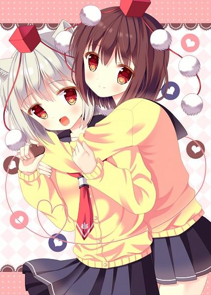 Tags: Anime, Hazakura Satsuki, Touhou, Shameimaru Aya, Inubashiri Momiji, Chocolate Heart, Fanart, Pixiv, Mobile Wallpaper, Fanart From Pixiv, AyaMomi