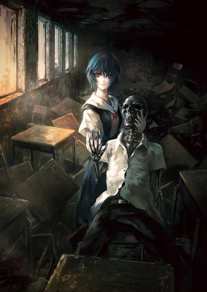 Tags: Anime, Archlich, Neon Genesis Evangelion, Ayanami Rei, Ikari Shinji, Fanart From Pixiv, Fanart, Pixiv, Mobile Wallpaper, Rei Ayanami