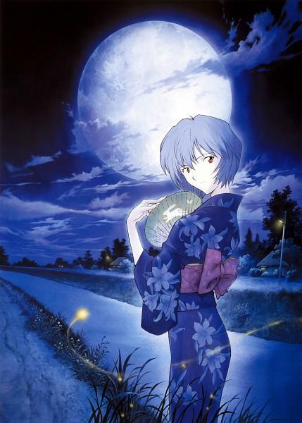 Tags: Anime, Honda Takeshi, Gainax, Neon Genesis Evangelion, Die Sterne, Ayanami Rei, Light Pole, Moonbeam, Fireflies, Uchiwa, Scan, Mobile Wallpaper, Official Art, Rei Ayanami