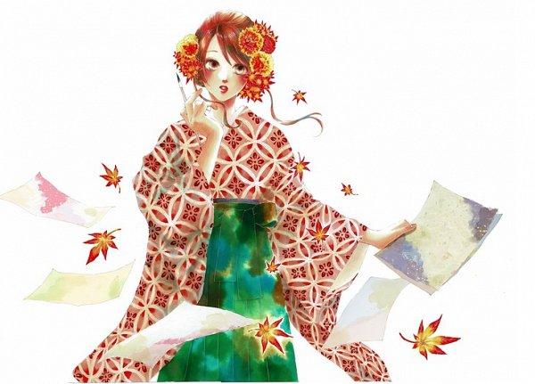 Tags: Anime, Suetsugu Yuki, Chihayafuru, Ayase Chihaya, Lip Gloss, Official Art