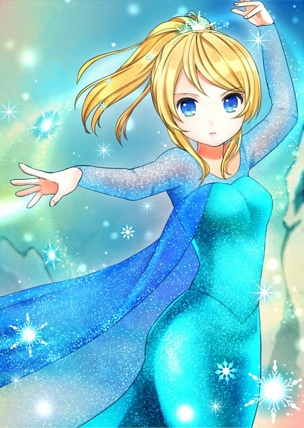 Tags: Anime, Pixiv Id 1906278, Love Live!, Ayase Eri, Elsa the Snow Queen (Cosplay), Frozen (Parody), Pixiv, Fanart, Fanart From Pixiv, Mobile Wallpaper