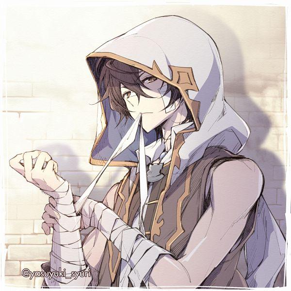 Tags: Anime, Shuri Yasuyuki, Granblue Fantasy, Ayer (Granblue Fantasy), Patch On The Nose, Brick Wall, Pixiv, Fanart, Fanart From Pixiv