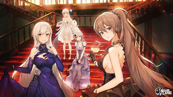 Tags: Anime, Naguri, Yostar, Azur Lane, Jean Bart (Azur Lane), Shoukaku (Azur Lane), Belfast (Azur Lane), Seattle (Azur Lane), The Crane that Dances With the Wind, Uninhibited Bloodstone, Official Art, The Noble Attendant, Gorgeous Party