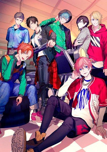 Tags: Anime, Yukihiro Utako, MAGES., B-Project, Shingari Miroku, Aizome Kento, Teramitsu Haruhi, Ashuu Yuuta, Teramitsu Yuzuki, Kaneshiro Goushi, Fudo Akane, Tires, Chain Necklace