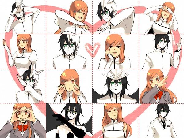 Tags: Anime, Pixiv Id 480476, BLEACH, Ulquiorra Schiffer, Inoue Orihime, Heart Gesture Duo, Fanart From Pixiv, Fanart, Pixiv, Hātotoresu, UlquiHime