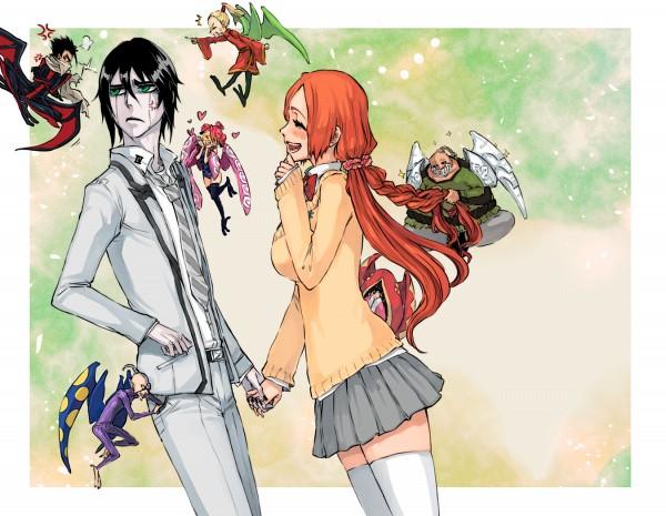 Tags: Anime, Rusky-boz, BLEACH, Baigon, Hinagiku (BLEACH), Ulquiorra Schiffer, Tsubaki (BLEACH), Inoue Orihime, Shuno (BLEACH), Lily (Bleach), Ayame (BLEACH), School Uniform (BLEACH), Gray Skirt