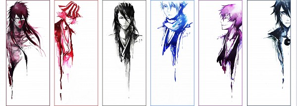 Tags: Anime, Pixiv Id 4396501, BLEACH, Urahara Kisuke, Kurosaki Ichigo, Ichimaru Gin, Kuchiki Byakuya, Ulquiorra Schiffer, Hitsugaya Toushirou, Mugetsu (BLEACH), Watercolor, Fanart, Traditional Media