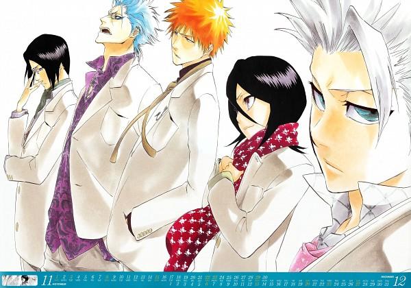 Tags: Anime, BLEACH, Kuchiki Rukia, Grimmjow Jeagerjaques, Kurosaki Ichigo, Hitsugaya Toushirou, Ishida Uryuu, Scan, Official Art, Gotei 13